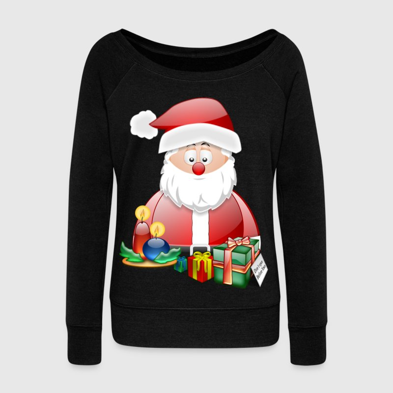 Father Christmas With Presents Candles Santa Christmas Scene - Women's Boat Neck Long Sleeve Top