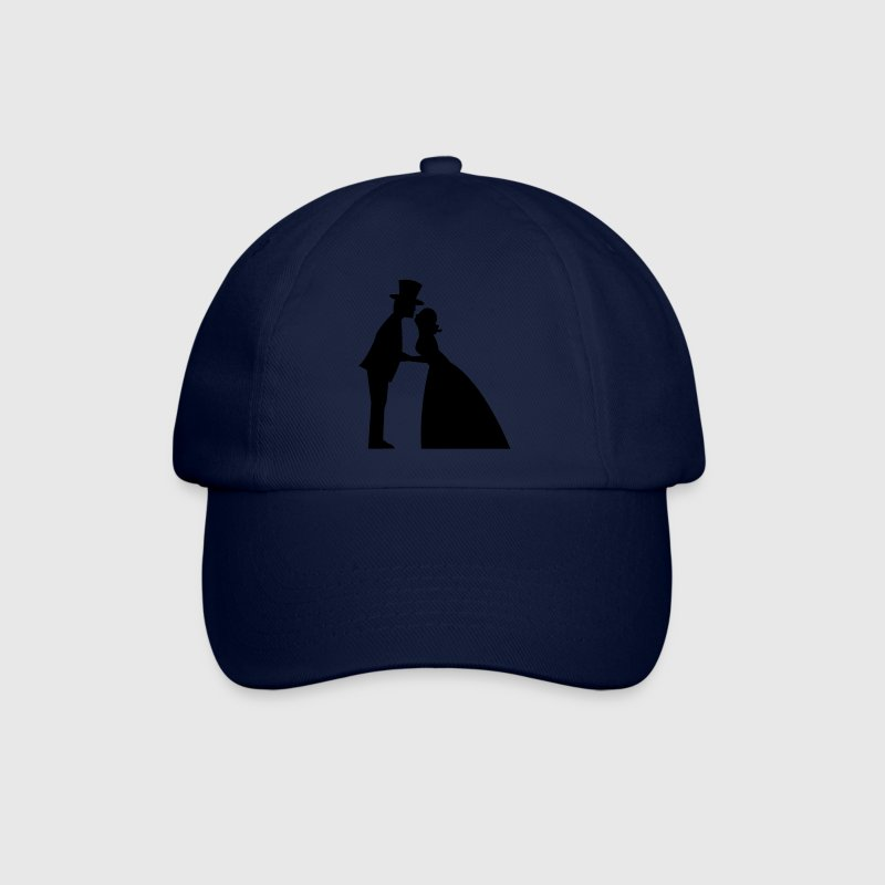 a wedding kiss man and woman formal dress top hat and Bridal gown kissing Caps & Hats - Baseball Cap