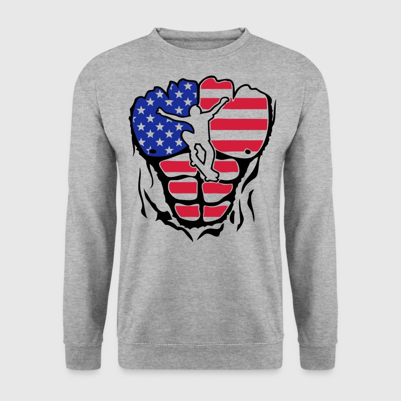 skateboard americain corps muscle drapeau Sweat-shirts - Sweat-shirt Homme
