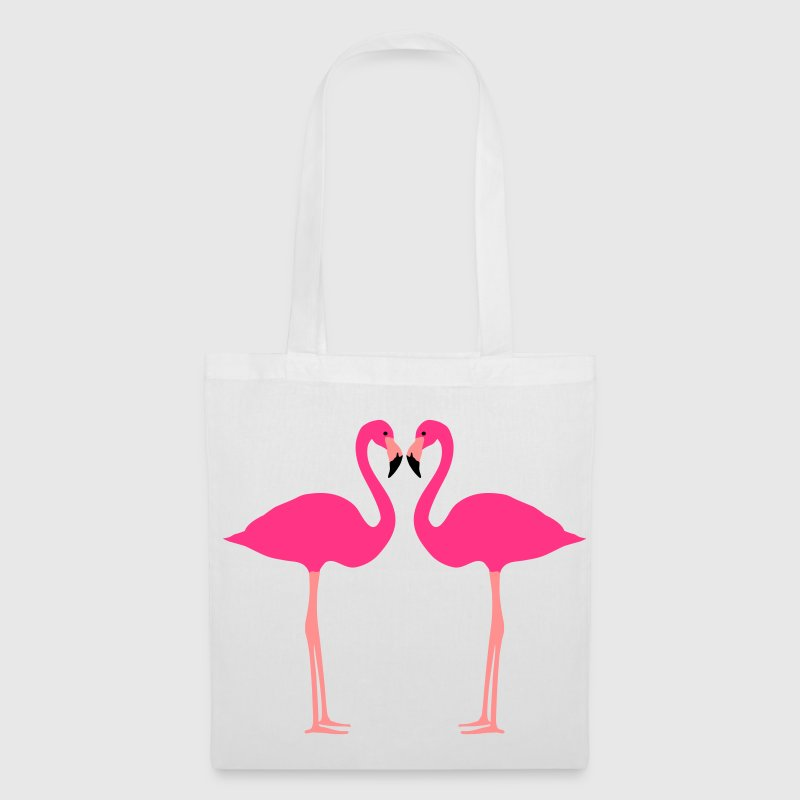 fenicottero, Flamingoes and Heart - Borsa di stoffa