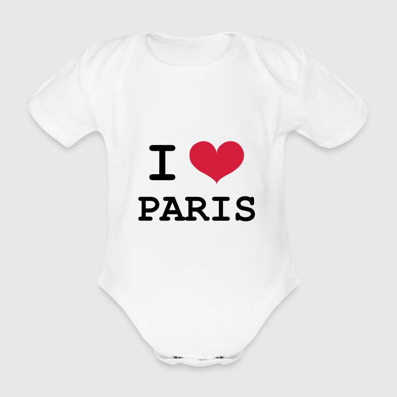 I Love Paris T-Shirts - Baby Bio-Kurzarm-Body