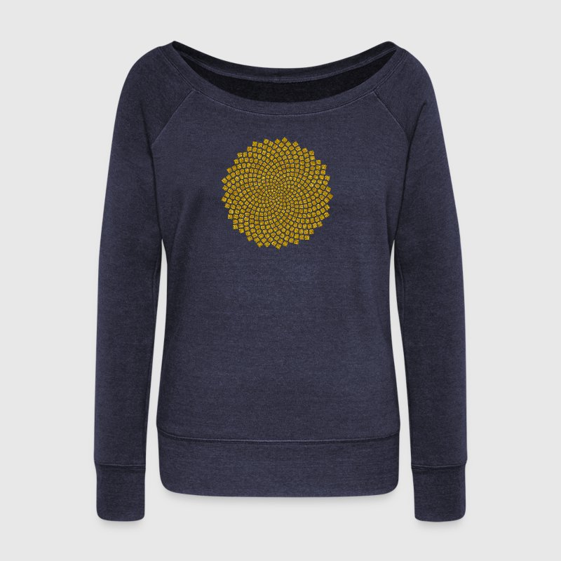 Fibonacci Spiral, Sunflower Seeds, Mathematics,  - Women's Boat Neck Long Sleeve Top