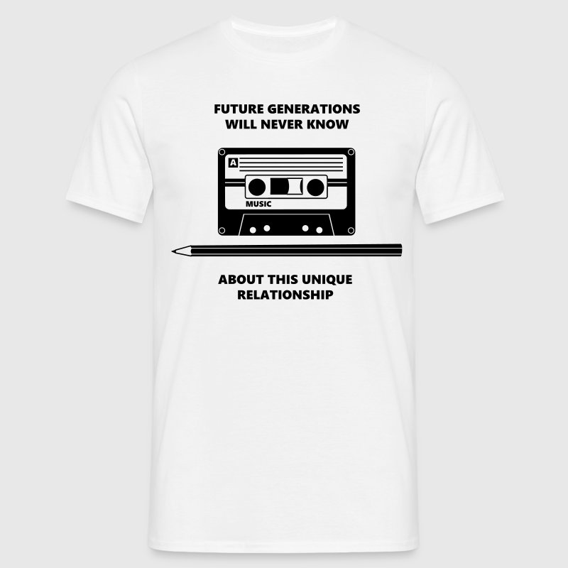 Audio Tape Stift Pencil Relationship T-Shirts - Men's T-Shirt