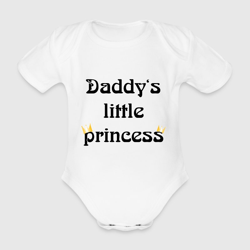 daddys little princess Baby Shirts  - Organic Short-sleeved Baby Bodysuit