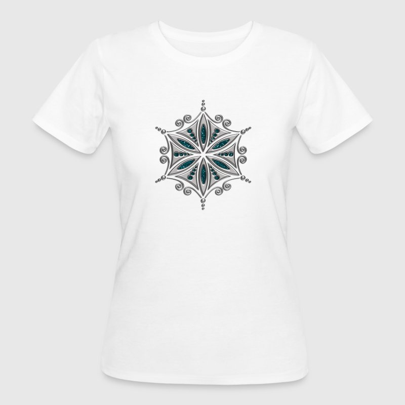 Flower of Aphrodite, silver, Symbol of  love, beauty and transformation, Power Symbol, Talisman T-Shirts - Frauen Bio-T-Shirt