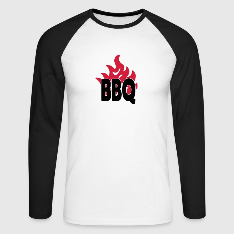 bbq with flames 2c Long sleeve shirts - Men's Long Sleeve Baseball T-Shirt