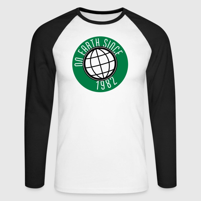 Birthday Design - On Earth since 1982 (uk) Long sleeve shirts - Men's Long Sleeve Baseball T-Shirt