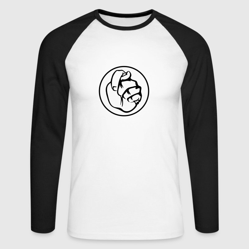 White/black sign language sex Men's Longsleeves - Men's Long Sleeve Baseball T-Shirt