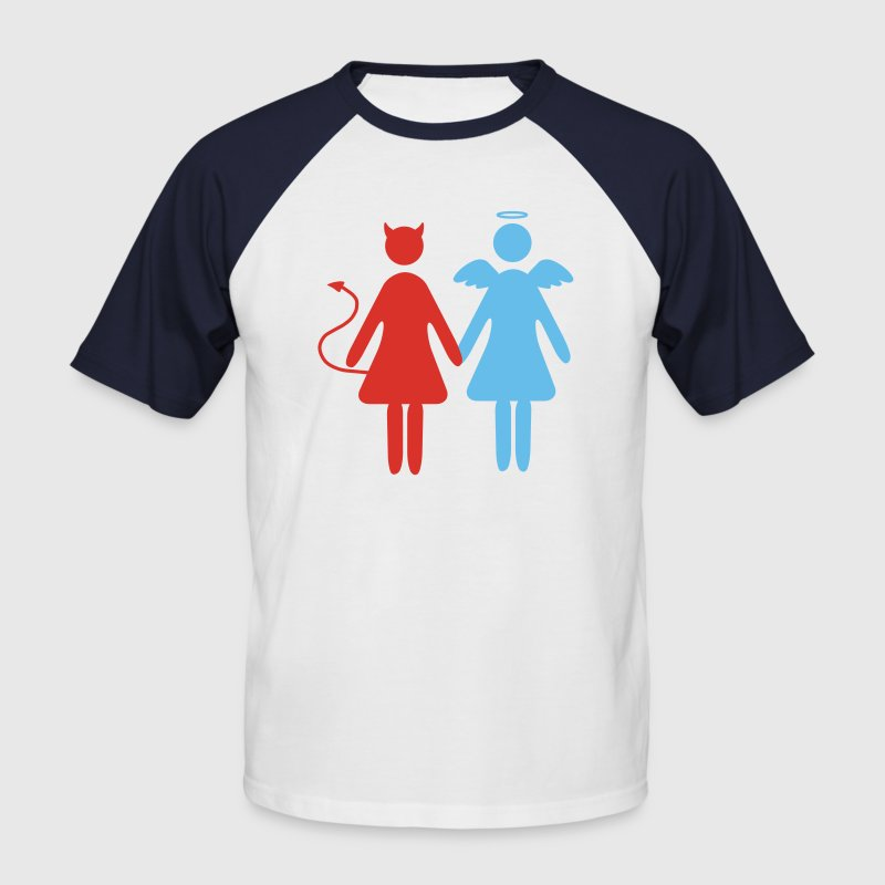 Blanc/rouge ange demon femmes Hommes - T-shirt baseball manches courtes Homme