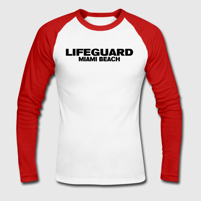 Blanc/rouge life guard miami Manches Longues Hommes - T-shirt baseball manches longues Homme