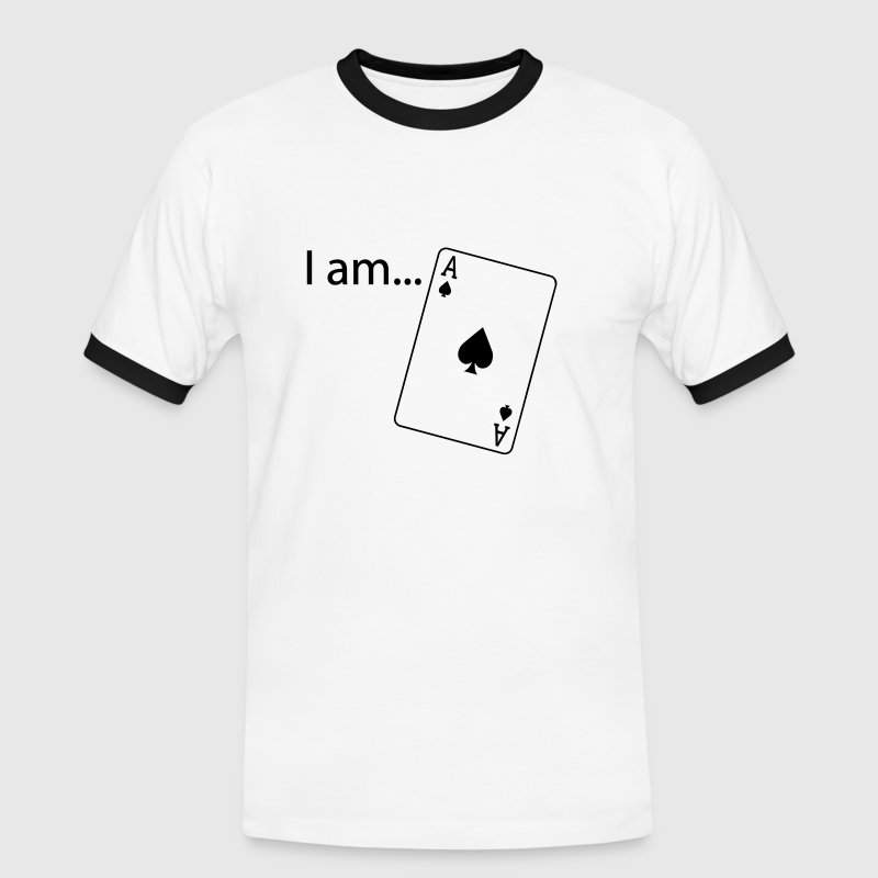 I am Ace - Flock Print - Black-White - Men's Ringer Shirt