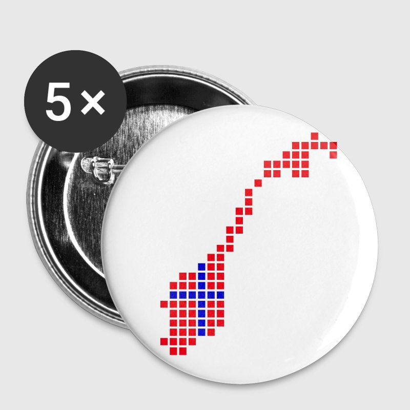White Norway Flag Pixel Map Accessories - Buttons large 56 mm