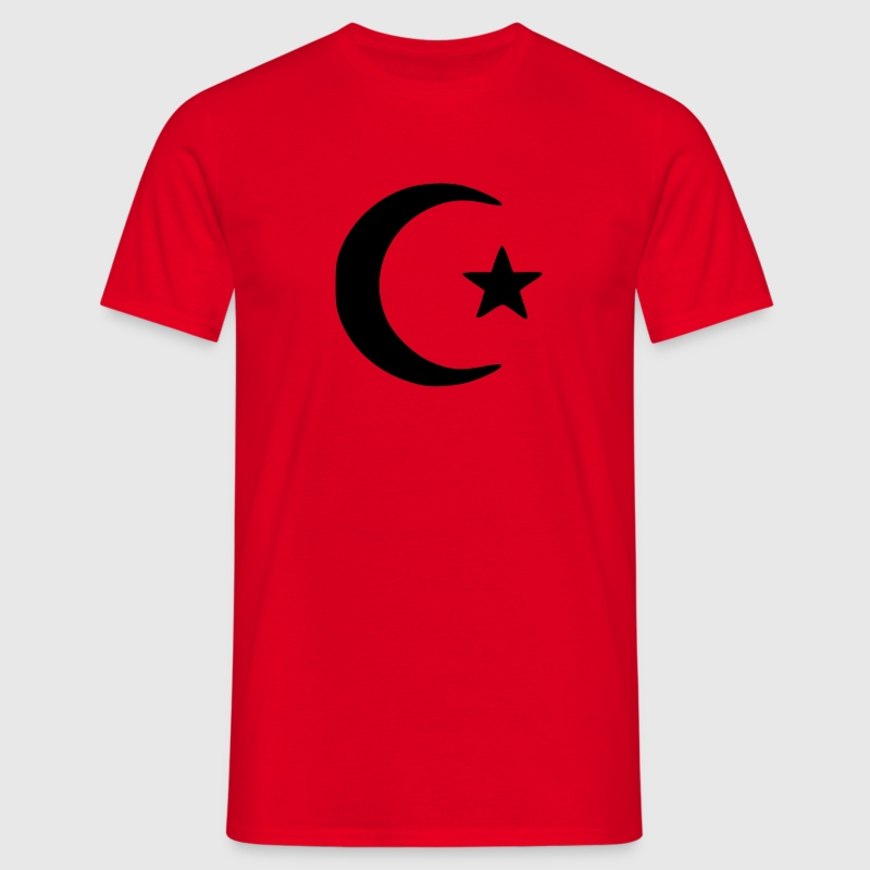 Red islam crescent moon star  T-Shirts - Men's T-Shirt