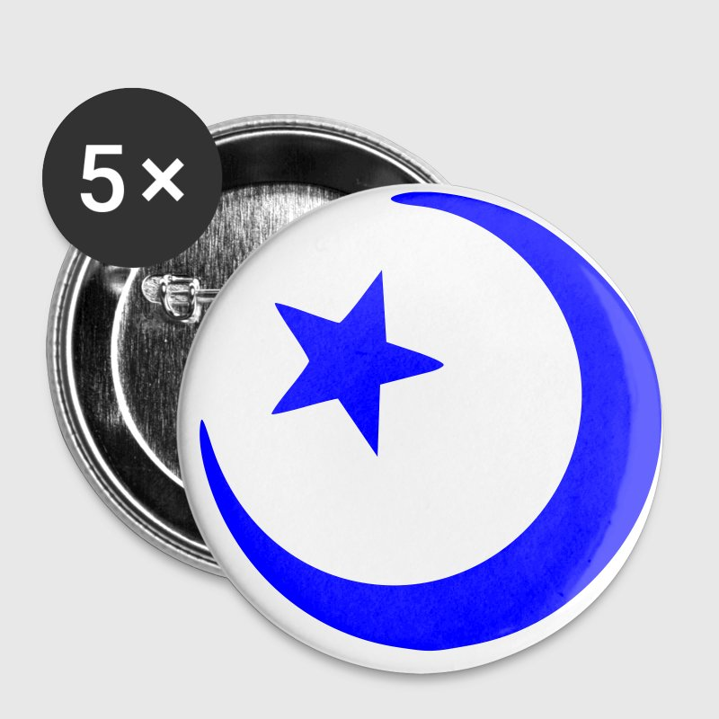 White islam crescent moon star  Accessories - Buttons small 25 mm