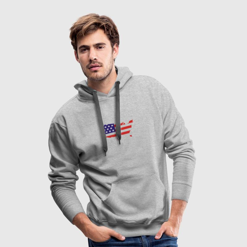 Grau meliert Stars and Stripes of USA, United States of America Pullover - Männer Premium Hoodie
