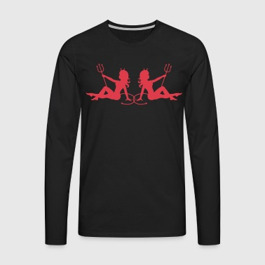 Black Sexy Devil Girl Men's T-Shirts - Men's Premium Longsleeve Shirt