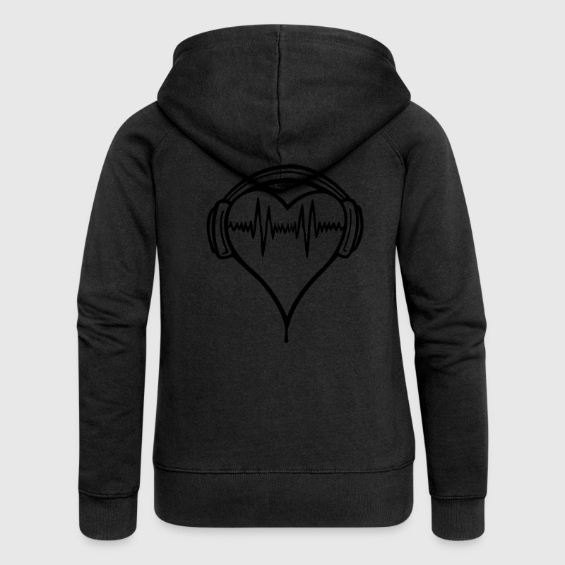 Black Heart headphones 2 Coats & Jackets - Women's Premium Hooded Jacket