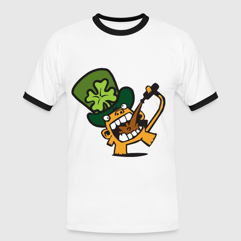 White/black Beer Monkey St. Patricks Day Celebrations. Men's Tees - Men's Ringer Shirt
