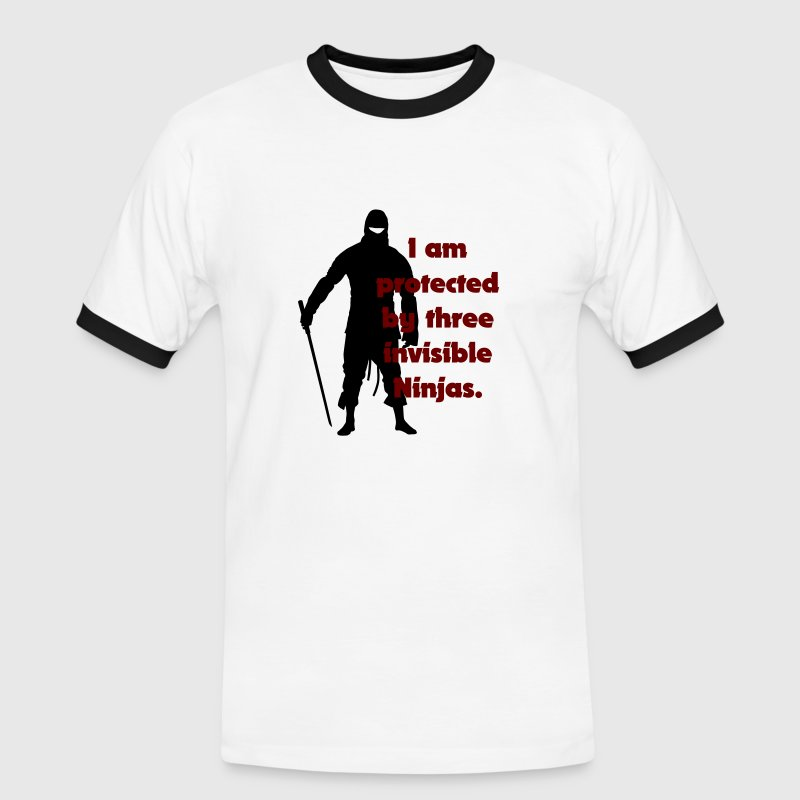 White/black I am protected by three invisible ninjas Men's Tees - Men's Ringer Shirt