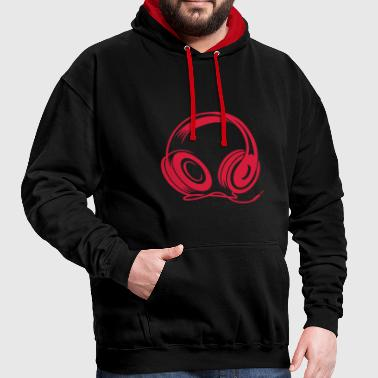 a headphone with cable - Contrast Colour Hoodie