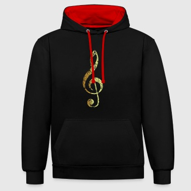 G-Clef - Treble Clef (Ancient Gold) - Contrast Colour Hoodie