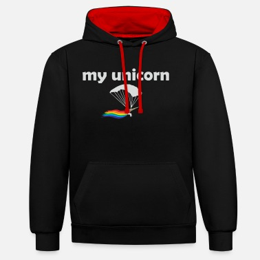 Skydiver Unicorn parachutist skydiver gift - Contrast Colour Hoodie