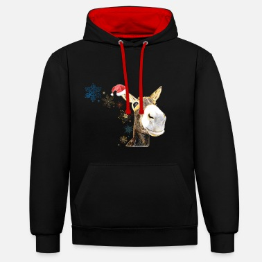 Christmas-Donkey - Contrast Colour Hoodie
