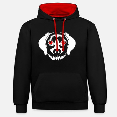Scary scary dog - Contrast Colour Hoodie