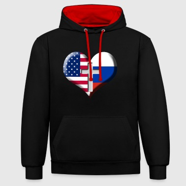 USA and Russia Heart with Cross - Kontrast-hettegenser