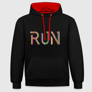 RUN, running, gift idea, gift - Contrast Colour Hoodie