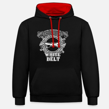 Tae Kwon Do No woman with white belt sayings - Contrast Colour Hoodie