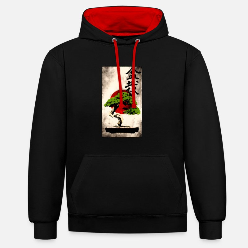 Bonsai Hoodies & Sweatshirts - Bonsai against Japanese flag Art Print - Unisex Contrast Hoodie black/red