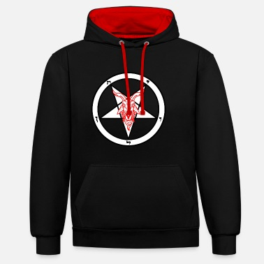 Satanic White and Red goats head Baphomet - Contrast Colour Hoodie