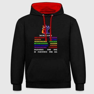 Animal Fight against inequality! Intersectional veganism - Contrast Colour Hoodie