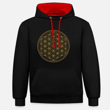 Sacred Geometry Flower of Life - Flower of Life T-Shirt & Access - Contrast Colour Hoodie