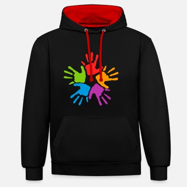 Colourful handprints - Contrast Colour Hoodie