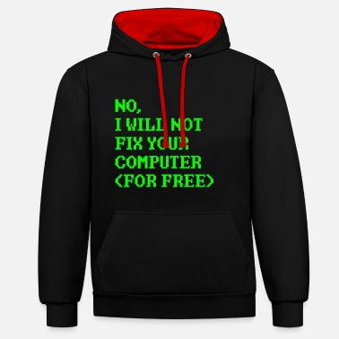 Computer repair nerd computer science gift - Contrast Colour Hoodie