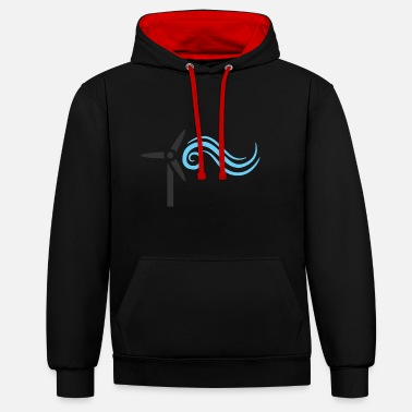 Wind Turbine windmill windmill wind turbine windrad14 - Contrast Colour Hoodie