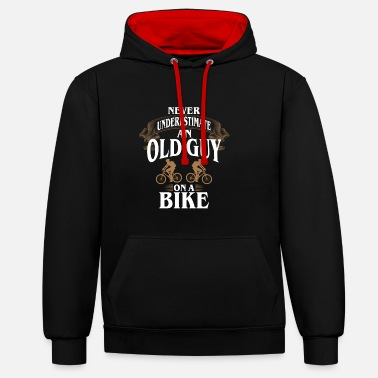 Guy Cycling Never Underestimate An Old Guy On A Bike - Contrast Colour Hoodie
