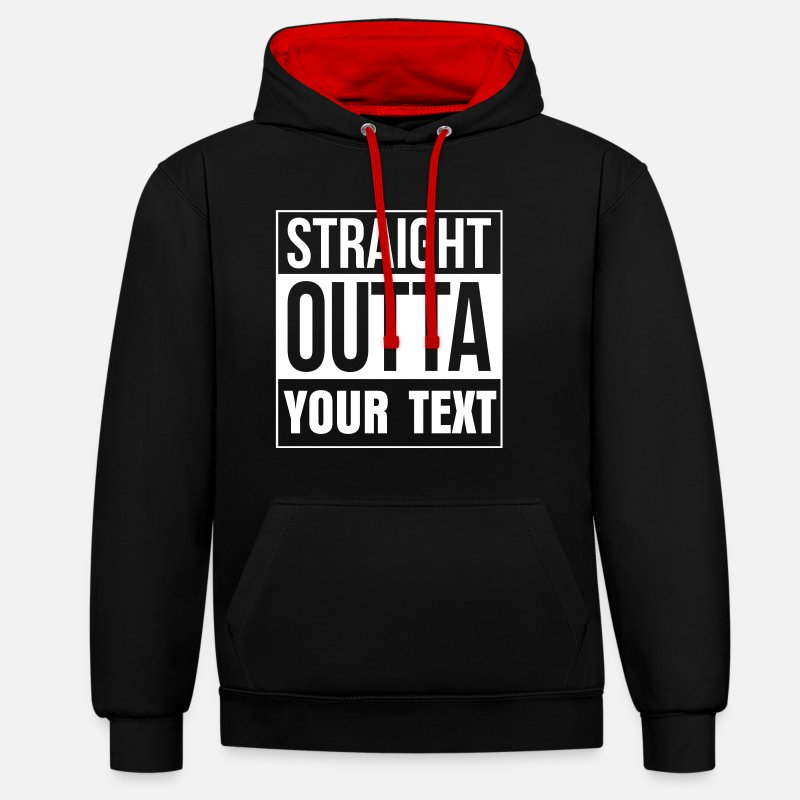 Outta Hoodies & Sweatshirts - STRAIGHT OUTTA - free custom TEXT - Unisex Contrast Hoodie black/red