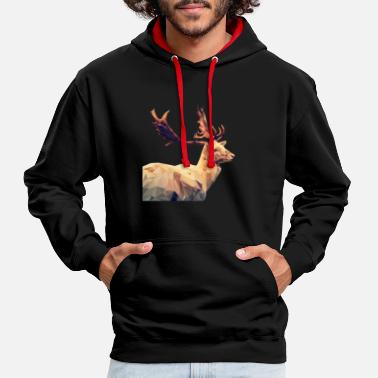 Stag Chic stag (poly) - Contrast Colour Hoodie