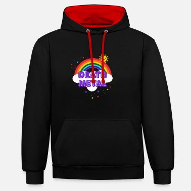Death Death Metal Rainbow - Sarcastic Metal Smiling Sun - Contrast Colour Hoodie