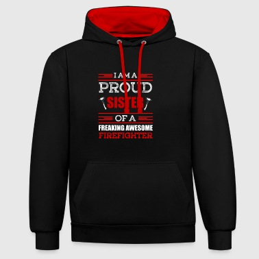 Big Sister Proud sister firefighter gift - Contrast Colour Hoodie