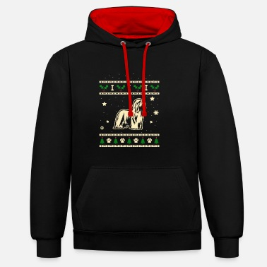 Bearded Collie Bearded Collie Christmas Gift - Contrast Colour Hoodie