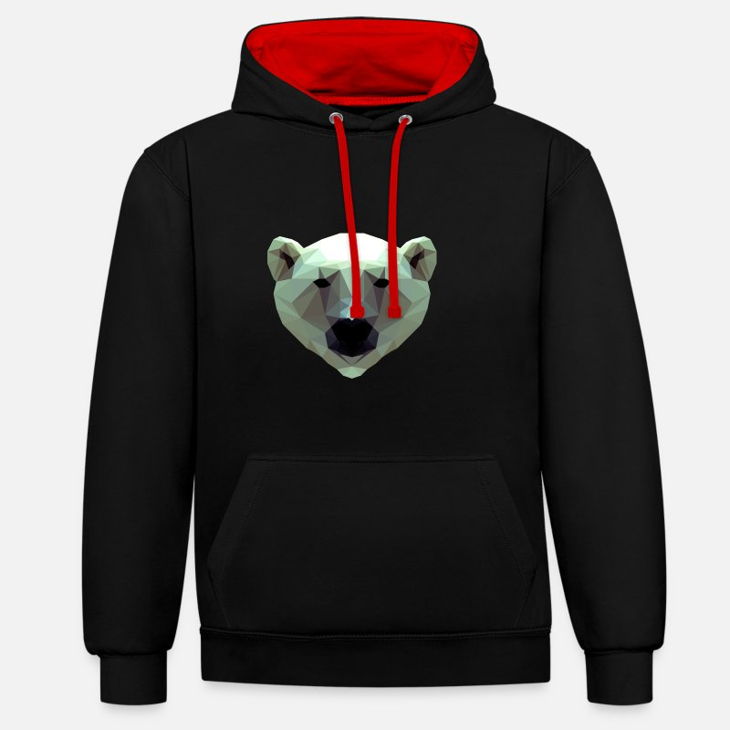 Ours Polaire Sweat-shirts - Conception 3D Polygon Ours Icebear T-shirt T - Sweat à capuche contrasté unisexe noir/rouge