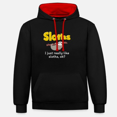 I Just Really Like Sloths - Contrast Colour Hoodie