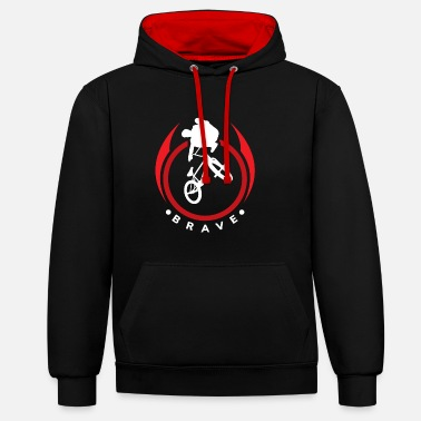 Teenager Bold bmx rider gift kids christmas - Contrast Colour Hoodie