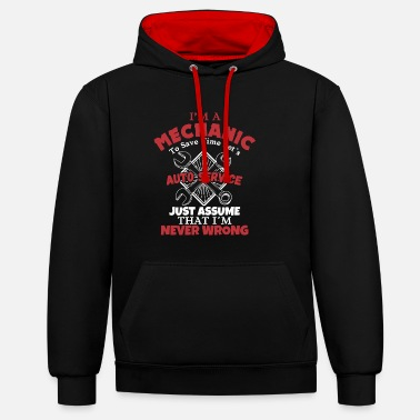 Car Mechanic Mechanic mechanics profession car repeating gift - Contrast Colour Hoodie