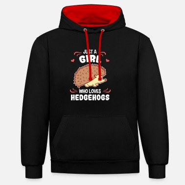 Hedgehog Hedgehog girls & women love gift - Contrast Colour Hoodie
