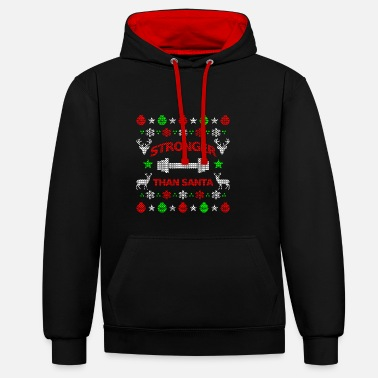 Fitness Fitness Christmas gift for strong men ugly - Contrast Colour Hoodie